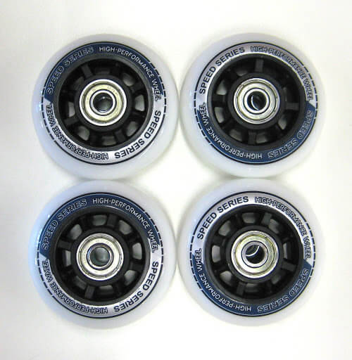 4 Ersatzrollen 70 x 22 mm, weiß mit Druck, inkl. ABEC-5 Kugellager