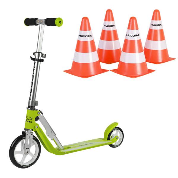"""HUDORA Little BigWheel®, Scooter grün """"Exklusiv Edition"""" mit Pylone Set (Bundle)"""