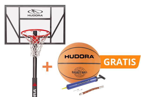 HUDORA Set: Basketballständer Competition Pro mit Basketball und kostenloser Ballpumpe