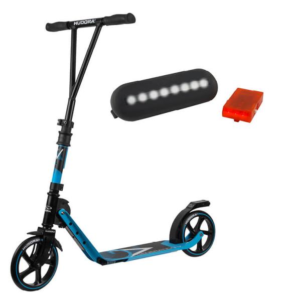 HUDORA BigWheel® Generation V 205, Scooter hellblau mit Sicherheitspaket (Bundle)