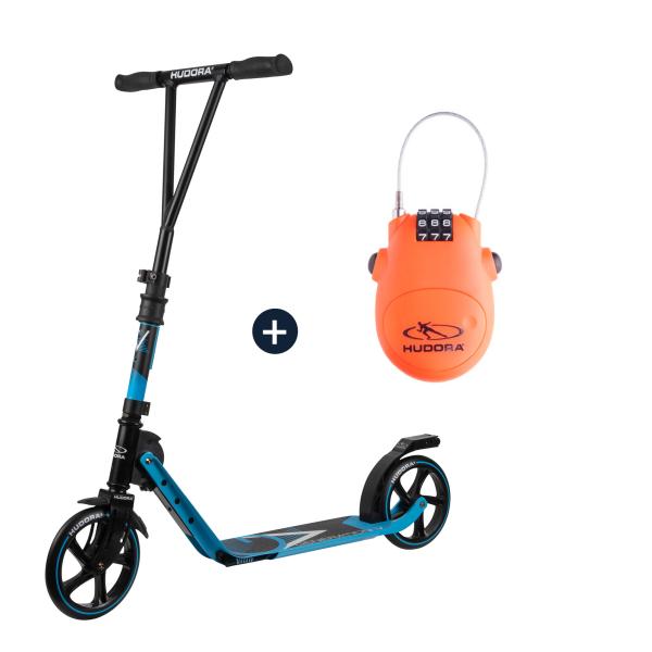 HUDORA BigWheel® Generation V 205, Scooter hellblau mit Kabelschloss (Bundle)