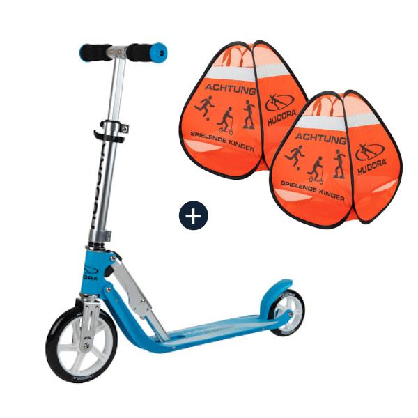 HUDORA Little BigWheel®, Scooter himmelblau mit Safety Pop Up Set (Bundle)