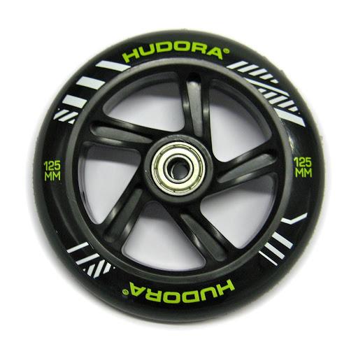 1 hintere Ersatzrolle 125 mm, inkl. ABEC-7 Kugellager, schwarz,für HUDORA Big Wheel Bold 145