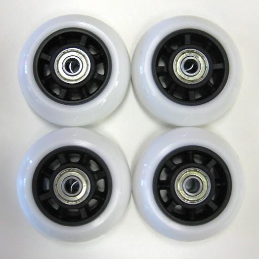 4 Ersatzrollen 76 x 22 mm, weiß, inkl. ABEC-5 Kugellager, für Kinderinliner Gr. 37-40