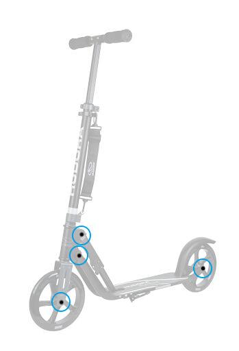 HUDORA Ersatzteil Scooter Schraube, Ersatzschrauben Schraubenset für Big Wheel Roller 205, silber