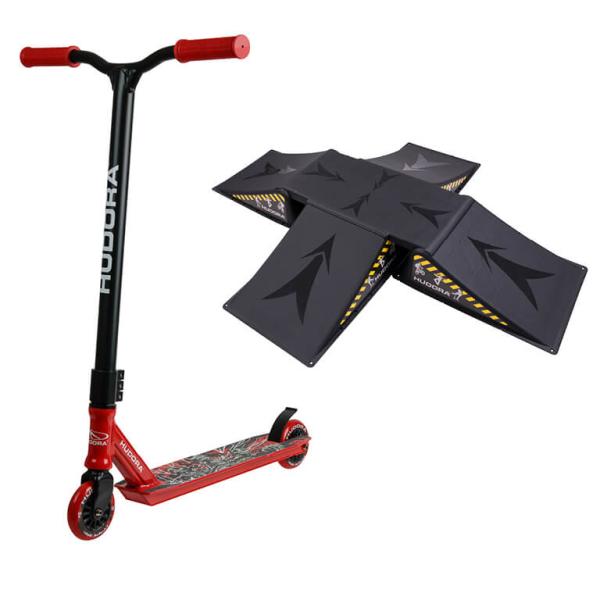 HUDORA Stunt Scooter XQ-13, rot mit Skater Rampe (Bundle)