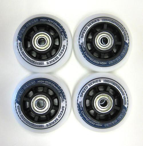 4 Ersatzrollen 76 x 22 mm, weiß mit Druck, inkl. ABEC-5 Kugellager