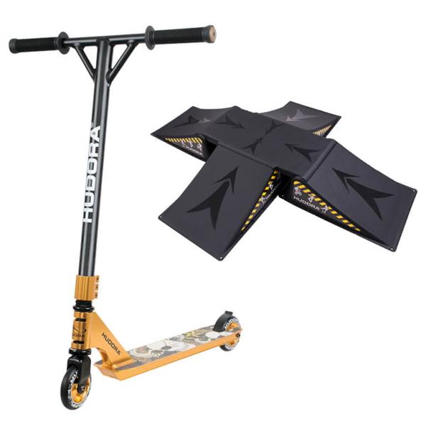 HUDORA Stunt Scooter XR-25, gold mit Skater Rampe (Bundle)
