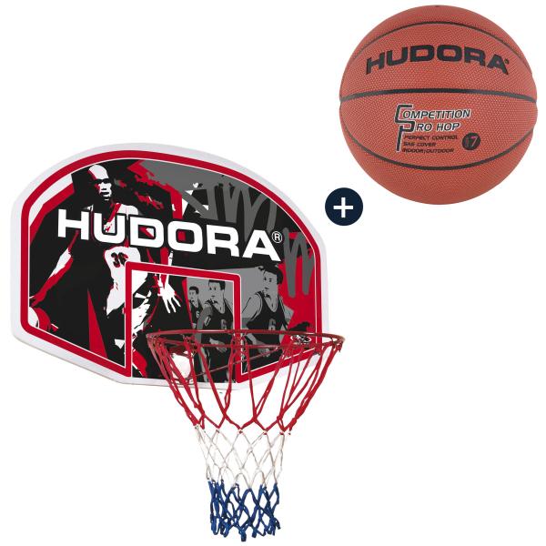 HUDORA Basketballkorbset In-/Outdoor mit Basketball (Bundle)