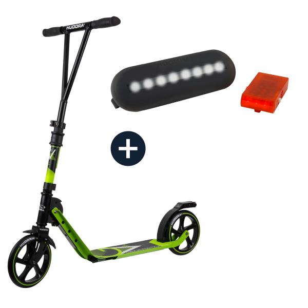 HUDORA BigWheel® Generation V 205, Scooter limegrün mit Sicherheitspaket (Bundle)