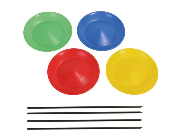 Jonglierteller mit Stab, 4 Stück