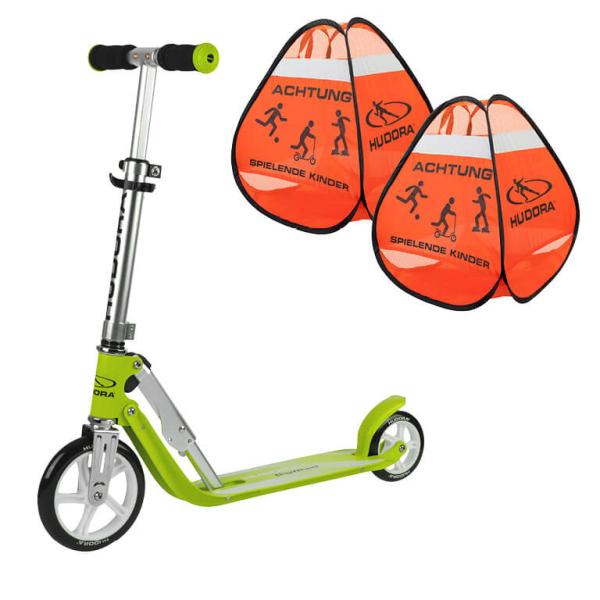 """HUDORA Little BigWheel®, Scooter grün """"Exklusiv Edition"""" mit Safety Pop Up Set (Bundle)"""