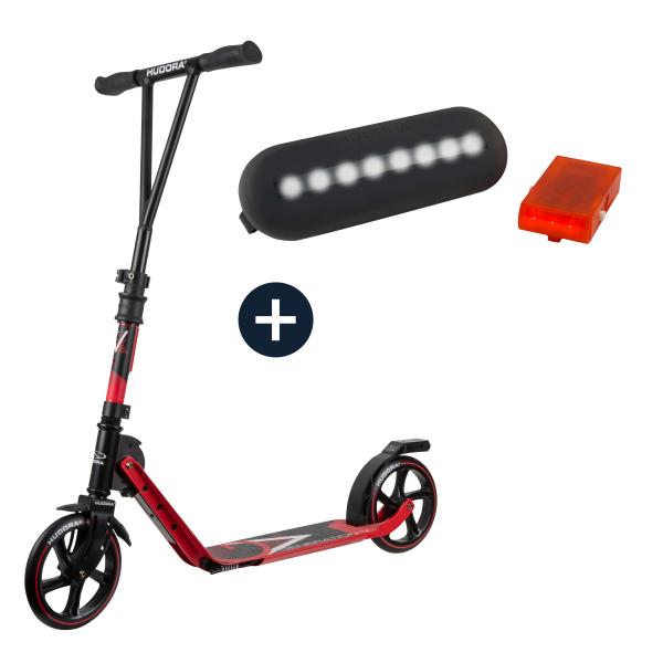 HUDORA BigWheel® Generation V 205, Scooter rot mit Sicherheitspaket (Bundle)