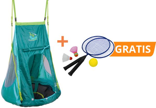 Set: Nestschaukel mit Zelt Pirate 90 und kostenlosem Federballset