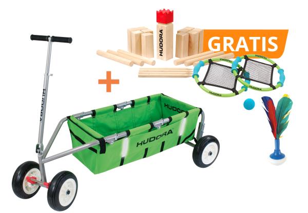 """Set: Bollerwagen Überländer 10"""", grün mit kostenlosem Wikingerspiel, Tamburino und Handfederball"""