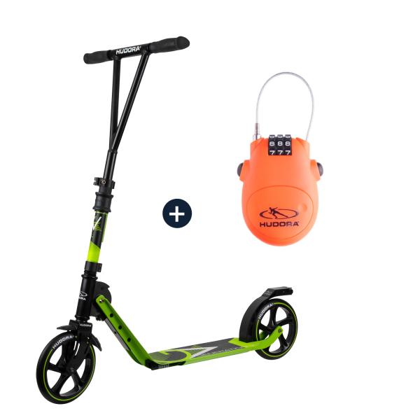 HUDORA BigWheel® Generation V 205, Scooter limegrün mit Kabelschloss (Bundle)