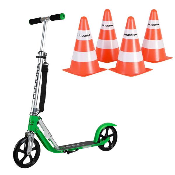 "HUDORA BigWheel® 205 Scooter, grass ""Exklusiv Edition"" mit Pylone Set (Bundle)"