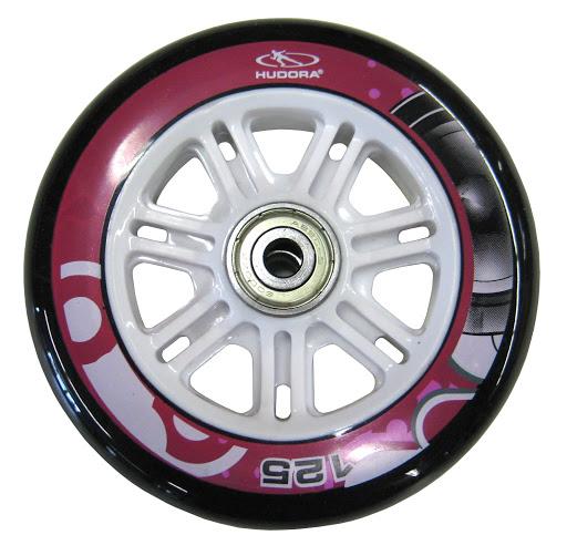 1 Ersatzrolle 125 mm inkl. ABEC 5 Kugellager, schwarz/weiß, HUDORA Big Wheel 125, pink
