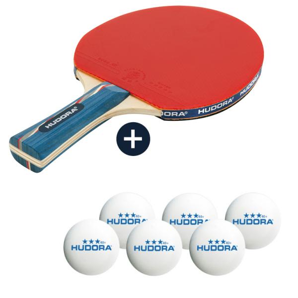 HUDORA Tischtennisschläger New Topmaster *** mit 6 Tischtennisbällen (Bundle)