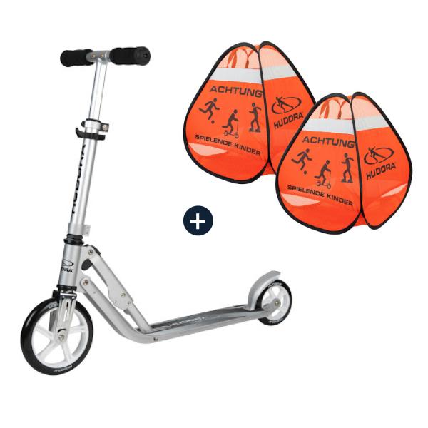 HUDORA Little BigWheel®, Scooter silber mit Safety Pop Up Set (Bundle)