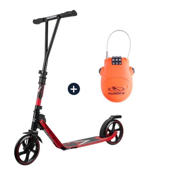 HUDORA BigWheel® Generation V 205, Scooter rot mit Kabelschloss (Bundle)