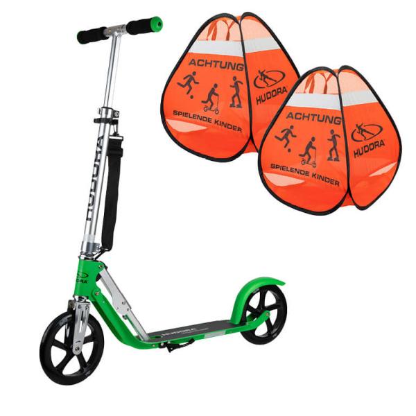"""HUDORA BigWheel® 205 Scooter, grass """"Exklusiv Edition"""" mit Safety Pop Up Set (Bundle)"""