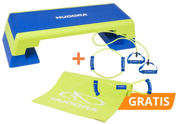 Set: Aerobic Step mit kostenlosem Fitness Expanderset und Yogamatte