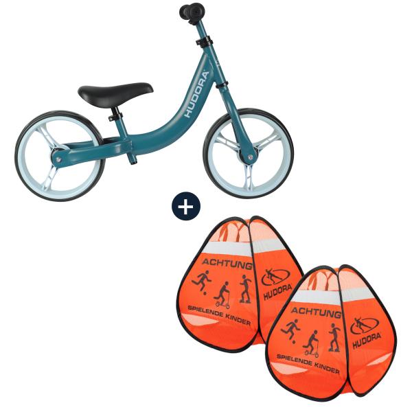 HUDORA Laufrad Classic, blau mit Safety Pop Up Set (Bundle)