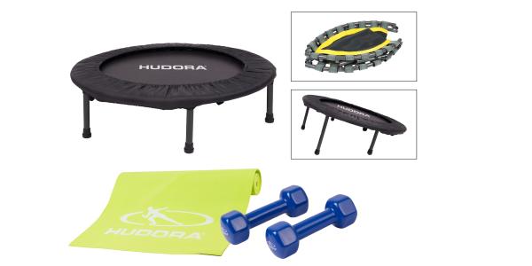 Fitness-Set: Trampolin mit Yogamatte und Hantelset