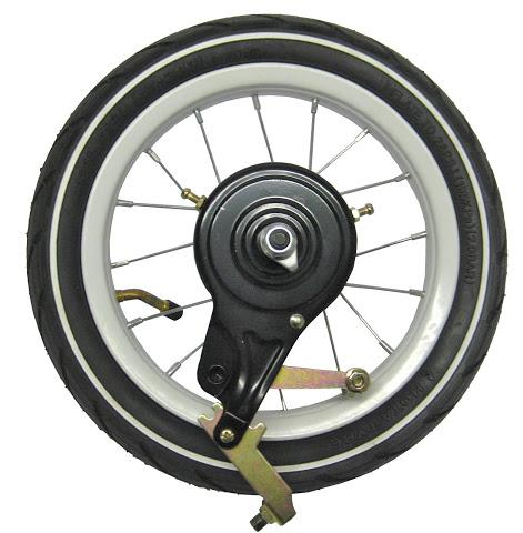 """1 Hinterrad mit Aluminium Felge 12"""" mit Bandbremse, weiß"""