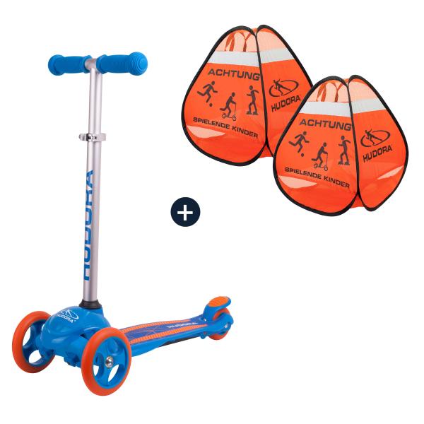HUDORA Kinderscooter Flitzkids 2.0, blau mit Safety Pop Up Set (Bundle)