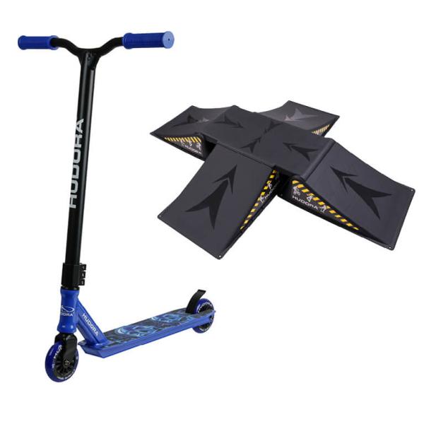 HUDORA Stunt Scooter XQ-12, blau mit Skater Rampe (Bundle)