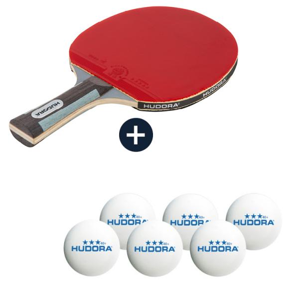 HUDORA Tischtennisschläger Competition mit 6 Tischtennisbällen (BUNDLE)