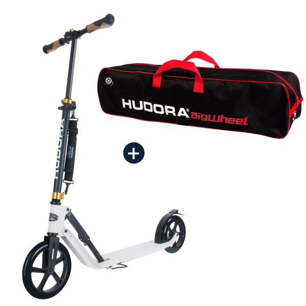 HUDORA BigWheel® Style 230, Scooter weiß mit Scootertasche (Bundle)