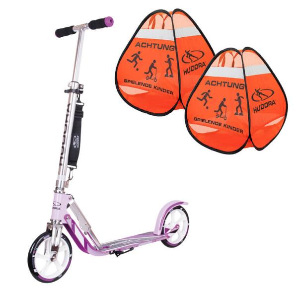 "HUDORA BigWheel® 205, Scooter lila ""Exklusiv Edition"" mit Safety Pop Up (Bundle)"