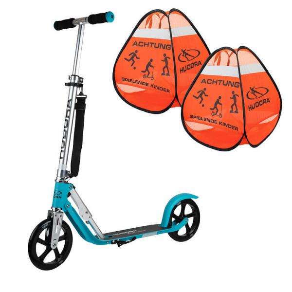 "HUDORA BigWheel® 205 Scooter, ocean ""Exklusiv Edition"" mit Safety Pop Up Set (Bundle)"