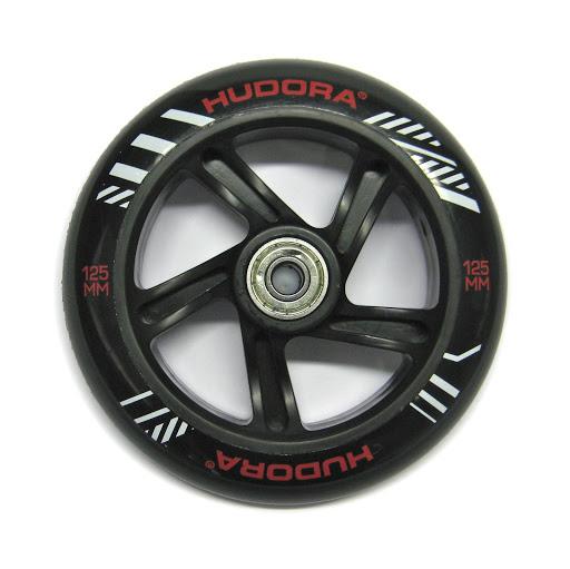 1 hintere Ersatzrolle 125 mm, inkl. ABEC-7 Kugellager, schwarz,für HUDORA Big Wheel Bold 125