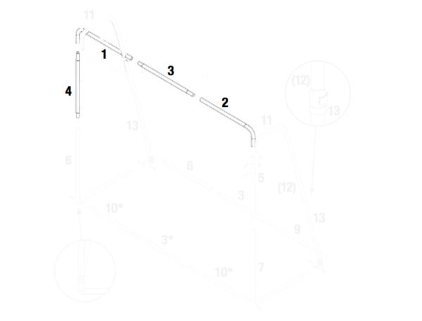 Stangenset N.1, 2, 3, 4 mit Arretierungsknöpfen