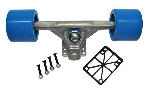 1 Longboardachse, mit 65 x 51 mm Rollen, hellblau