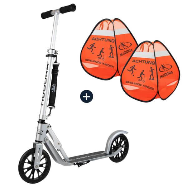 HUDORA BigWheel® Crossover 205, Scooter mit Safety Pop Up Set (Bundle)