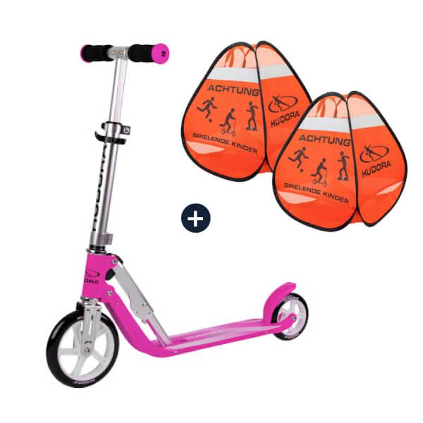 HUDORA Little BigWheel®, Scooter magenta mit Safety Pop Up Set (Bundle)