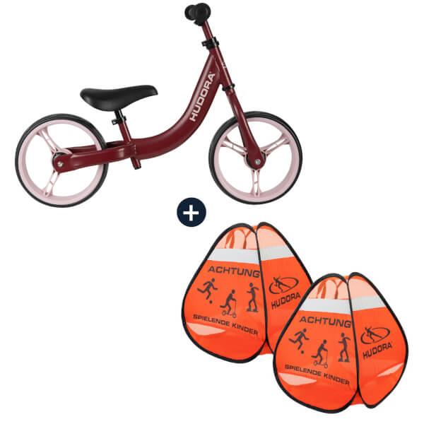 HUDORA Laufrad Classic, bordeaux mit Safety Pop Up Set (Bundle)