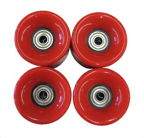 4 Rollen 60 x 45 mm inkl. ABEC-7 Kugellager, Rot, für Skateboard Cruiser ABEC 7