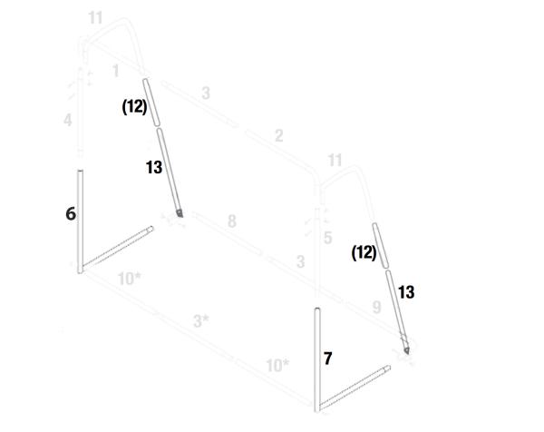 Stangenset Nr. 6, 7, 12, 13 mit Arretierungsknöpfen